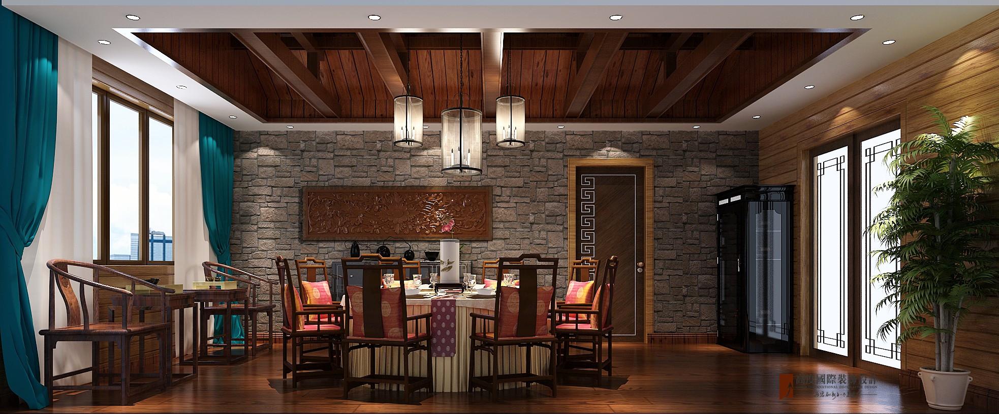 中式 别墅 复式 跃层 大户型 80后 小资 餐厅图片来自高度国际姚吉智在东方太阳城396平米中式禅意设计的分享