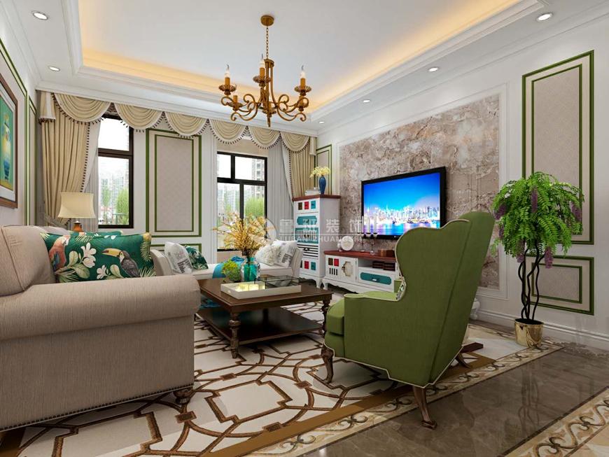 美式风格 鲁班装饰 西安装修 装修效果图图片来自西安鲁班装饰设计在万科东方传奇美式清新调的分享
