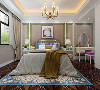 美式清新调,五居室,主卧室效果图赏析。