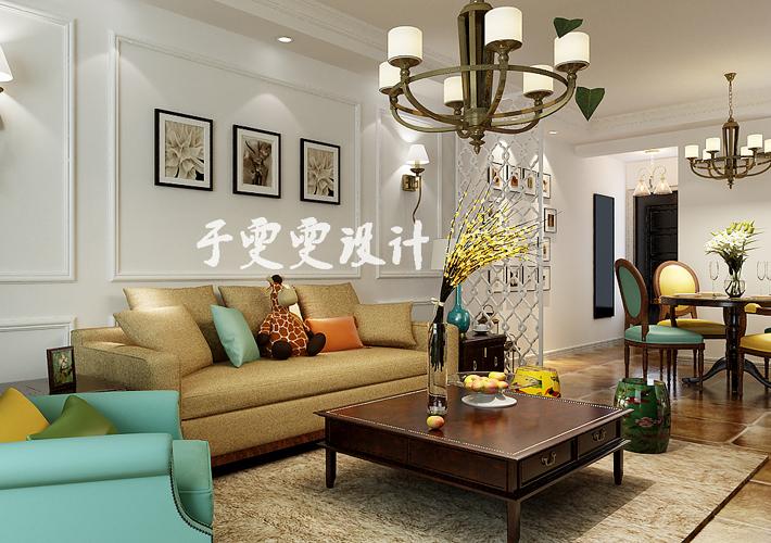 二居 奉天九里 客厅图片来自百家设计小刘在奉天九里95平简美风格半包4万的分享