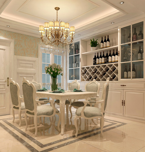 餐厅图片来自装家美在复地东山国际246平米欧式风格的分享