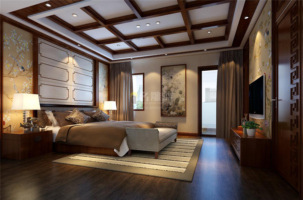星河丹堤 新中式 卧室图片来自名雕装饰设计在星河丹堤-新中式风格-别墅的分享