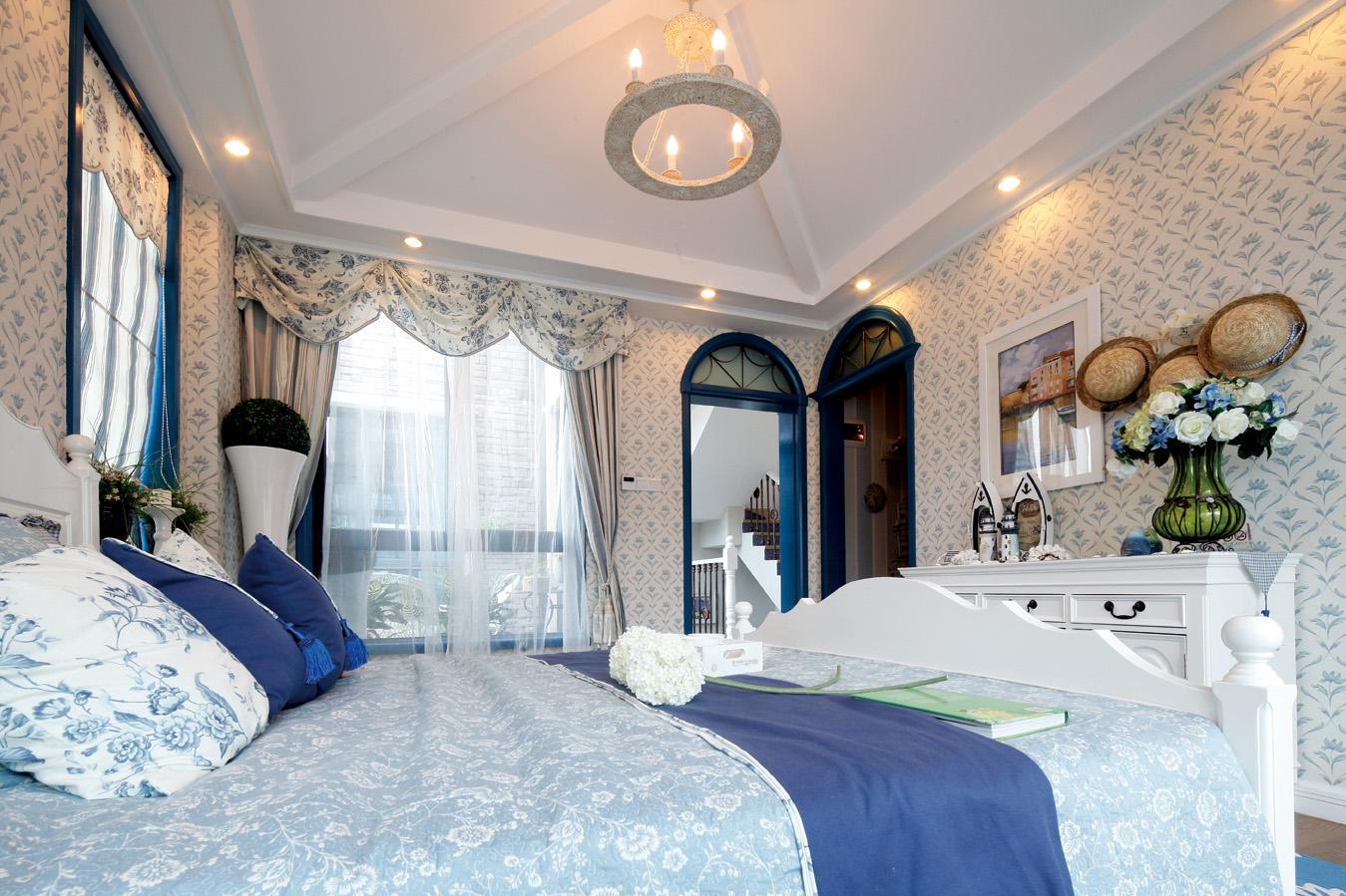地中海 别墅 跃层 复式 大户型 80后 小资 卧室图片来自高度国际姚吉智在223平米地中海蓝充满阳光的色彩的分享