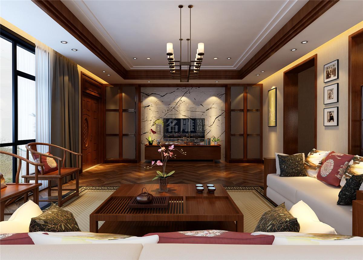 星河丹堤 新中式 客厅图片来自名雕装饰设计在星河丹堤-新中式风格-别墅的分享