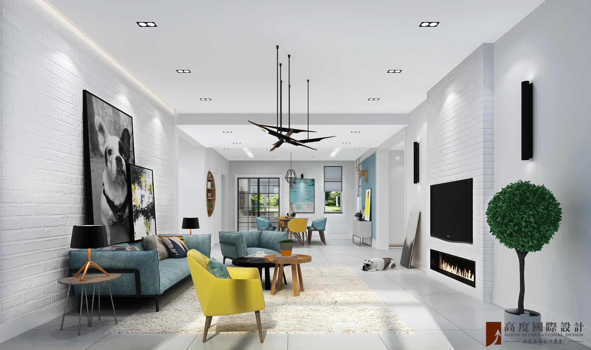 别墅 复式 跃层 大户型 80后 小资 客厅图片来自高度国际姚吉智在金科王府500平米北欧极简主义的分享