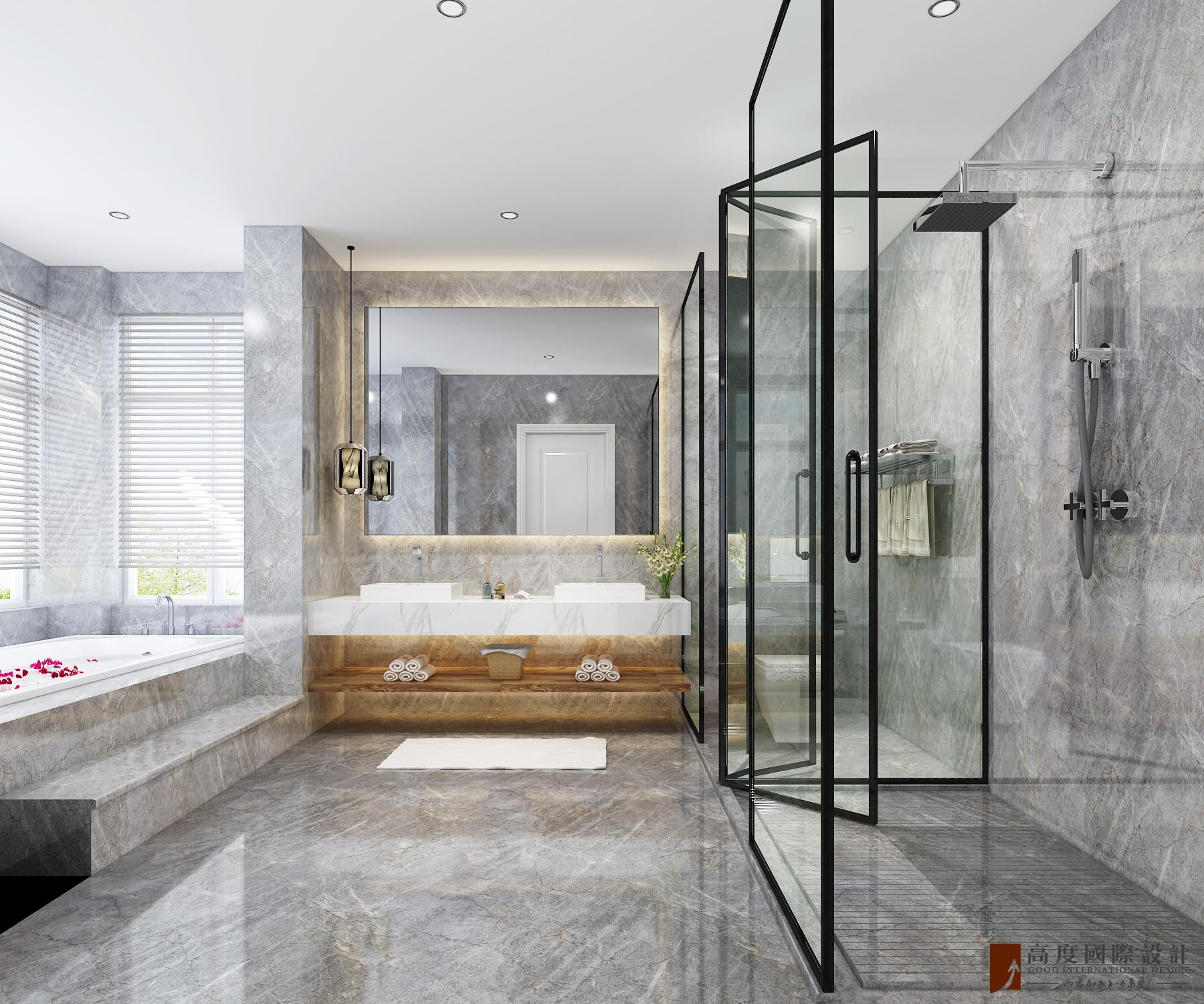 别墅 复式 跃层 大户型 80后 小资 卫生间图片来自高度国际姚吉智在金科王府500平米北欧极简主义的分享