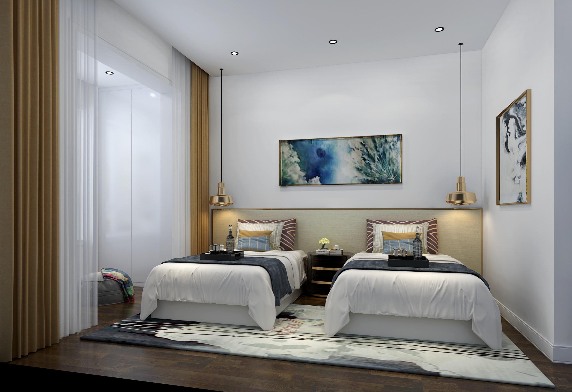 别墅 复式 跃层 大户型 80后 小资 卧室图片来自高度国际姚吉智在金科王府500平米北欧极简主义的分享