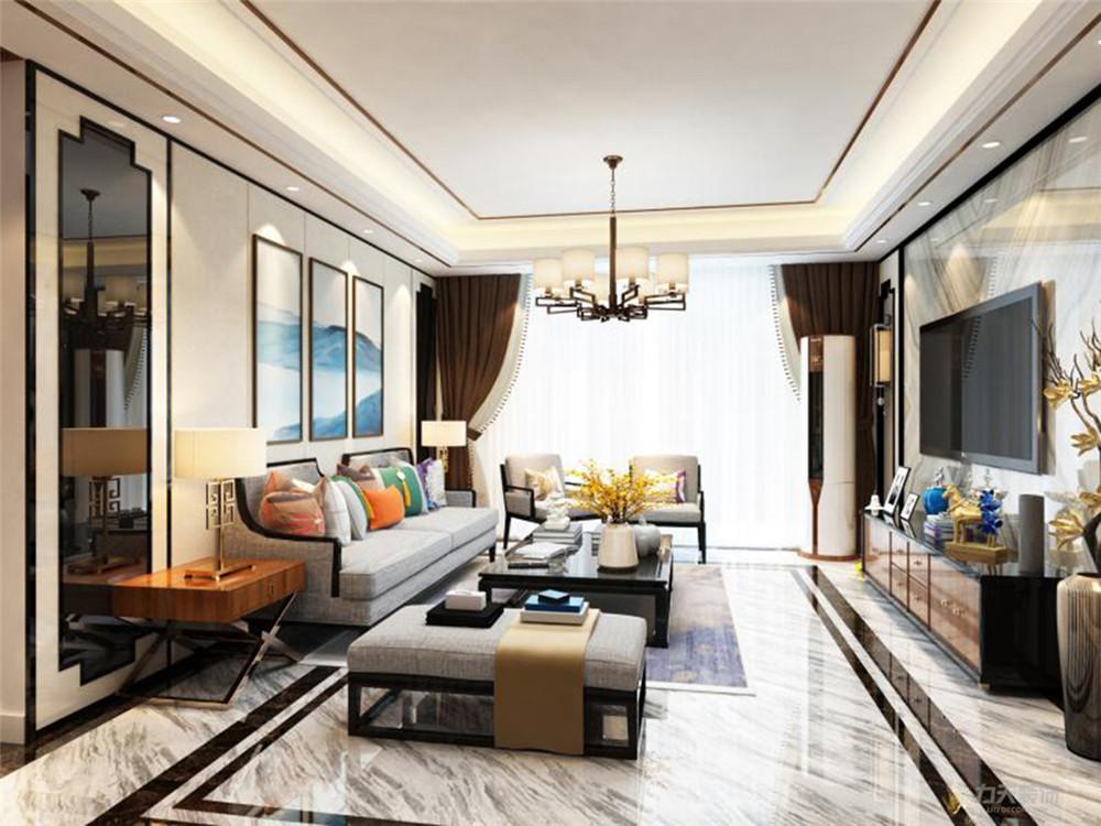 三居 白领 收纳 80后 小资 客厅图片来自阳光力天装饰在力天装饰 汇和家园 115㎡ 新中式的分享