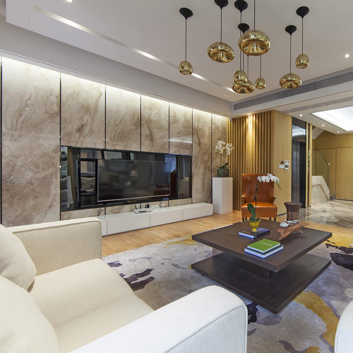 别墅 别墅装修 别墅设计 紫玉山庄 现代风格 客厅图片来自北京高度国际在时尚不简单,紫玉山庄现代风格的分享
