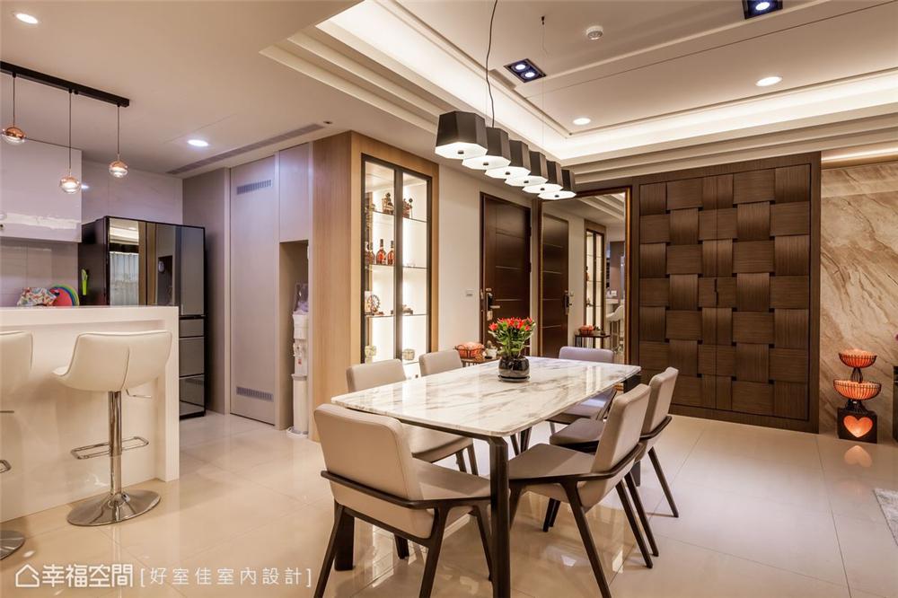 四居 现代简约 装修风格 装修设计 室内设计 餐厅图片来自幸福空间在139平!经典不败好感加乘!的分享