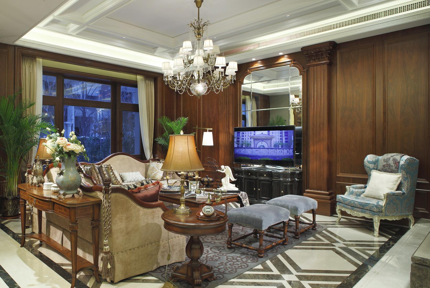 别墅装修 别墅设计 别墅 美式风格 客厅图片来自北京高度国际在美式豪华别墅设计的分享