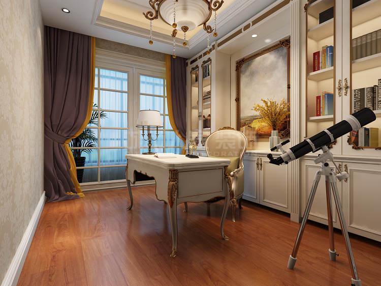 欧式装修 别墅设计 城市人家装 欧式大宅 西安装修 书房图片来自西安城市人家装饰王凯在西安普华浅水湾206平欧式设计的分享