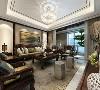 西安装修设计-鲁班装饰-湖城大境四居室-中式风格-客厅效果图