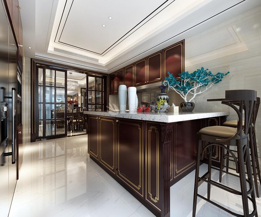 鲁班装饰 装修设计 四居室 新中式 效果图 厨房图片来自西安鲁班装饰设计在湖城大境202平米新中式装修设计的分享