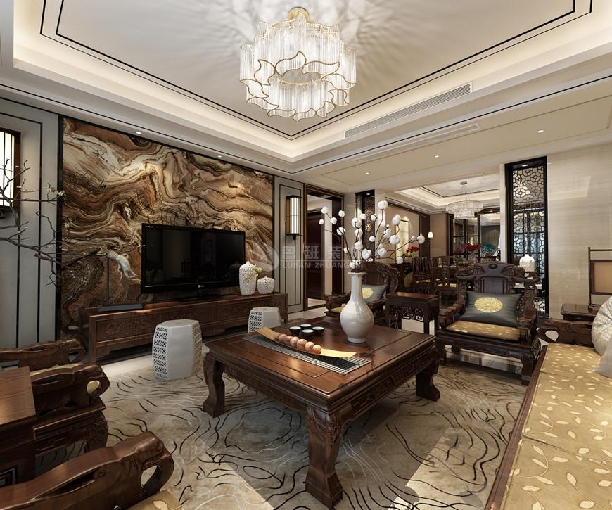 鲁班装饰 装修设计 四居室 新中式 效果图 客厅图片来自西安鲁班装饰设计在湖城大境202平米新中式装修设计的分享