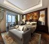 西安装修设计-鲁班装饰-湖城大境四居室-中式风格-卧室效果图