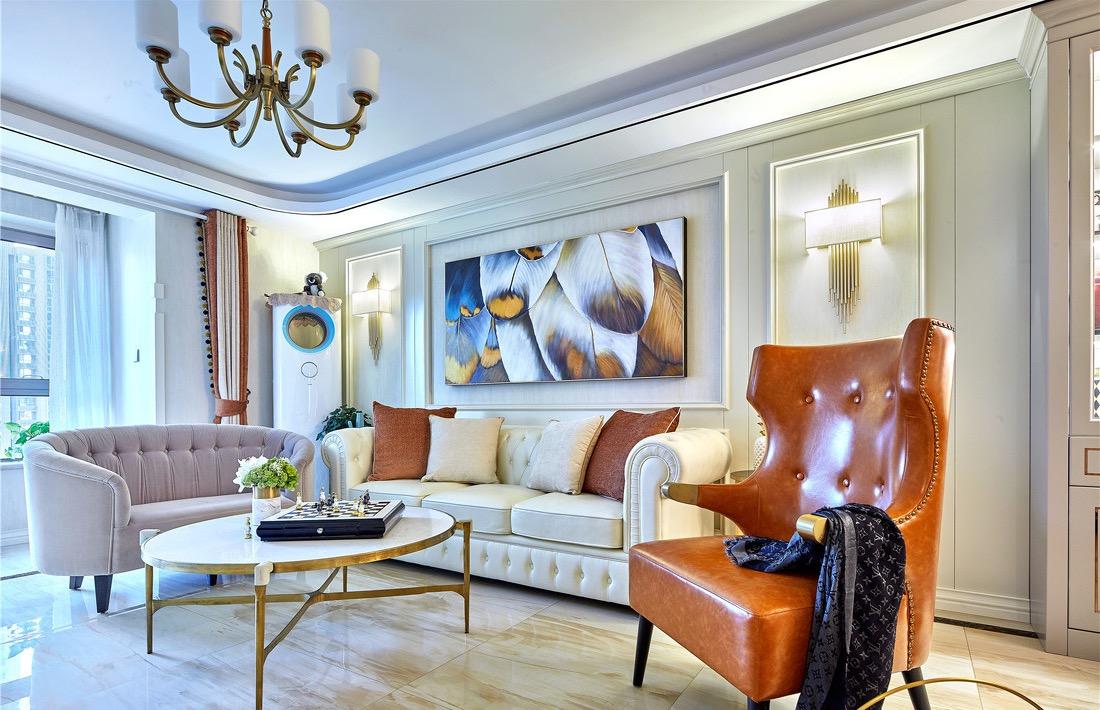 美式 三居 客厅图片来自言白设计在橙红之光的分享