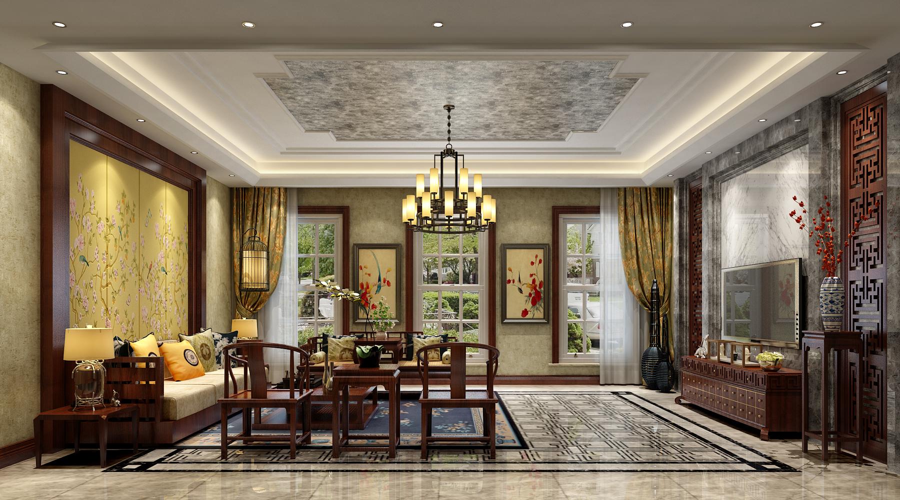 客厅图片来自北京高度国际在文安别墅--313平米中式风格的分享