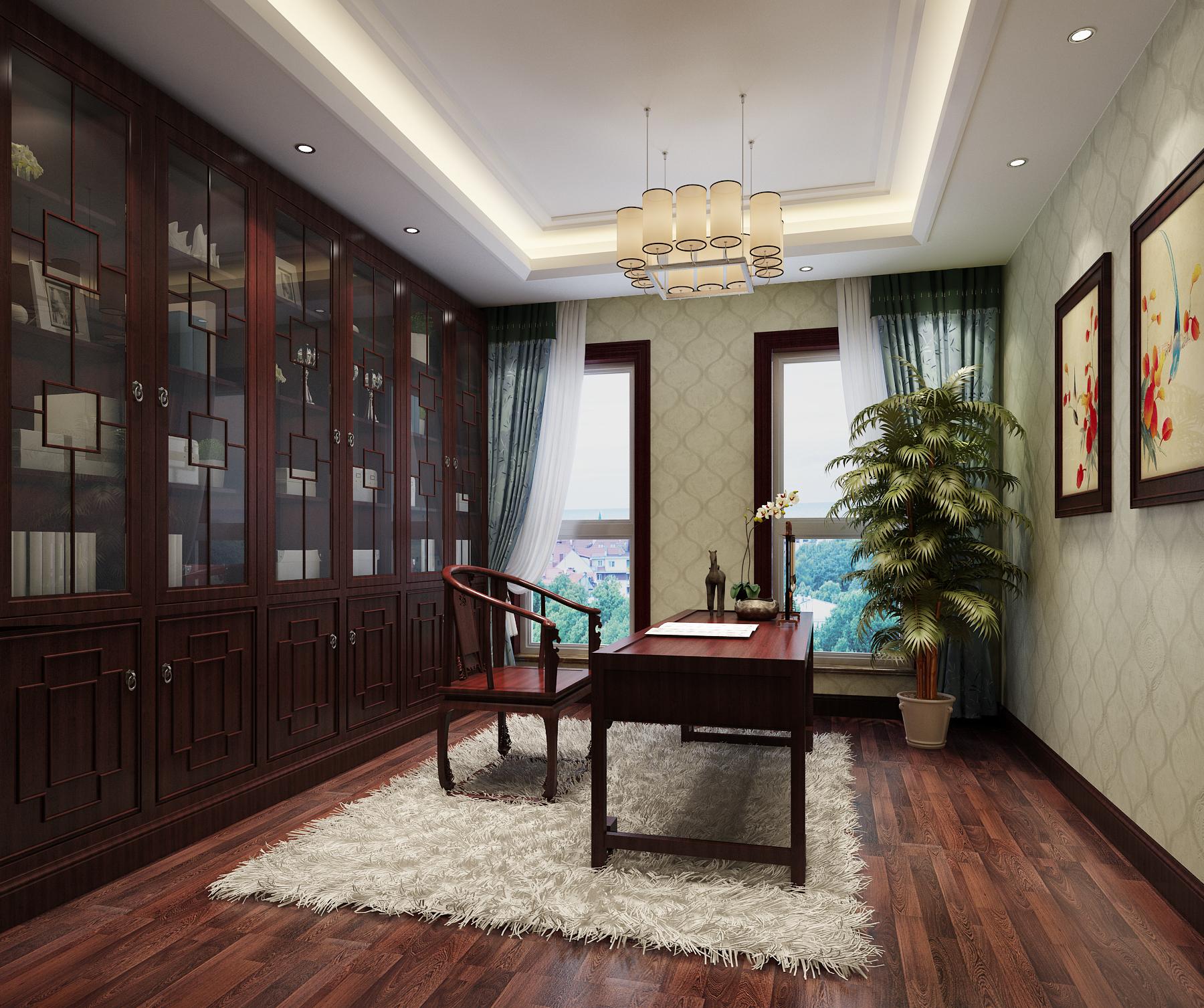 书房图片来自北京高度国际在文安别墅--313平米中式风格的分享