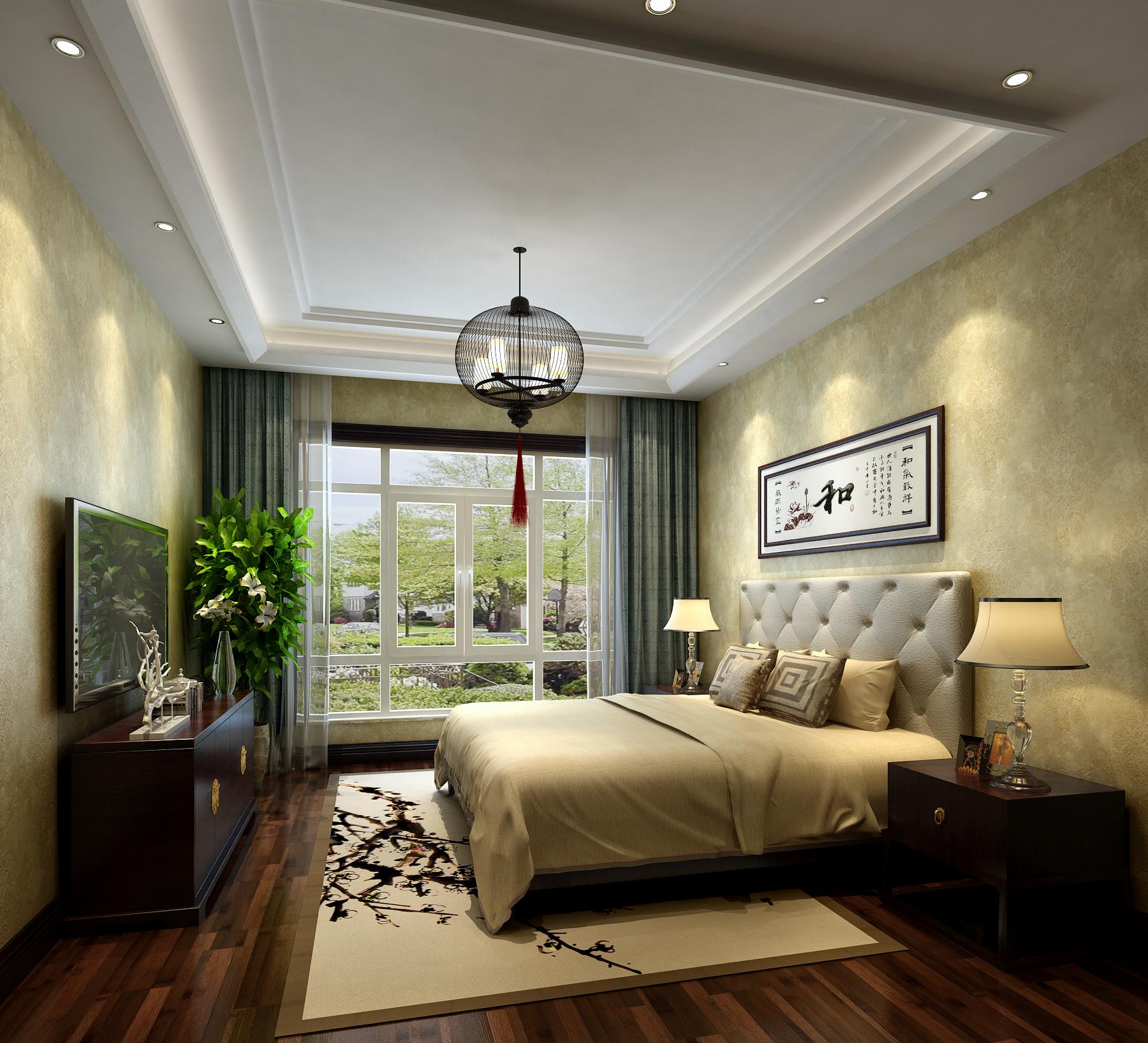 卧室图片来自北京高度国际在文安别墅--313平米中式风格的分享
