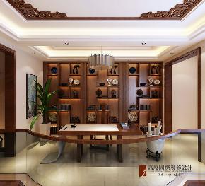 中式 别墅 跃层 复式 大户型 80后 小资 书房图片来自高度国际姚吉智在首创国际半岛320平米新中式别墅的分享