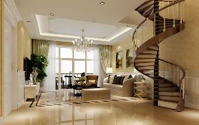 欧式 混搭 别墅 楼梯图片来自北京高度国际-陈玲在三河别墅——奢华版欧式风的分享