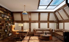 美式 别墅 大户型 跃层 复式 小资 书房图片来自高度国际姚吉智在金科王府300平米美式优雅稳重的分享