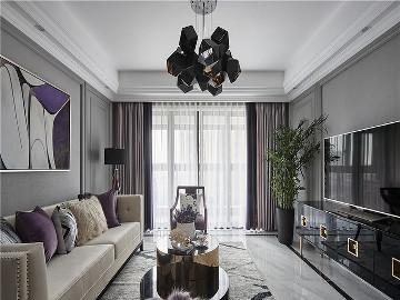 浅紫色基调 128平美式格调3居室
