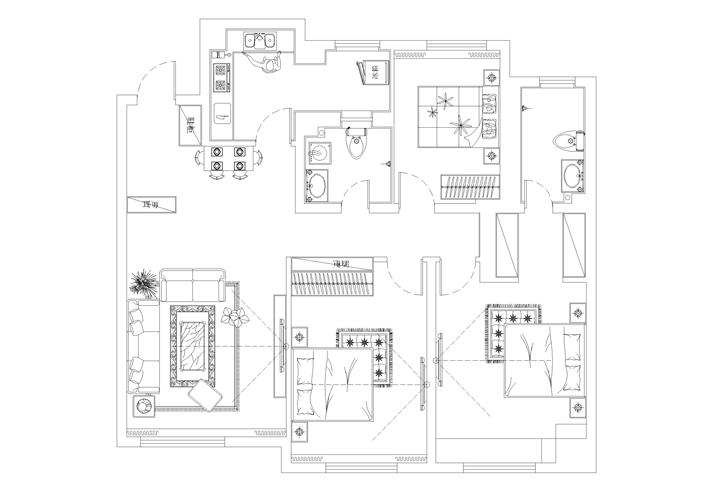 三居 万锦香樟树 欧式风格 户型图图片来自百家设计小刘在万锦香樟树140平欧式风格的分享