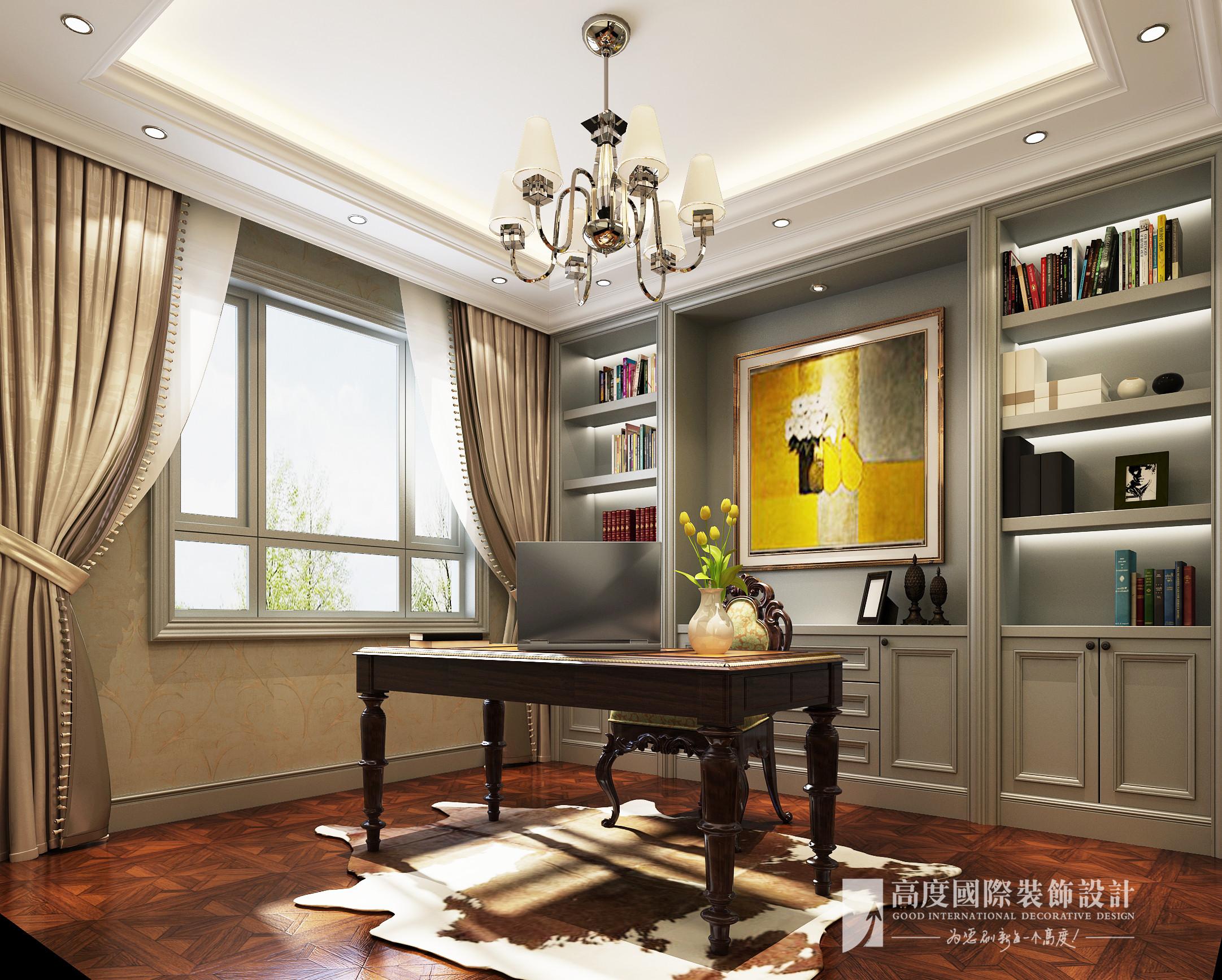 欧式 别墅 大户型 跃层 复式 小资 80后 书房图片来自高度国际姚吉智在西山艺境280平米简欧叠拼别墅的分享