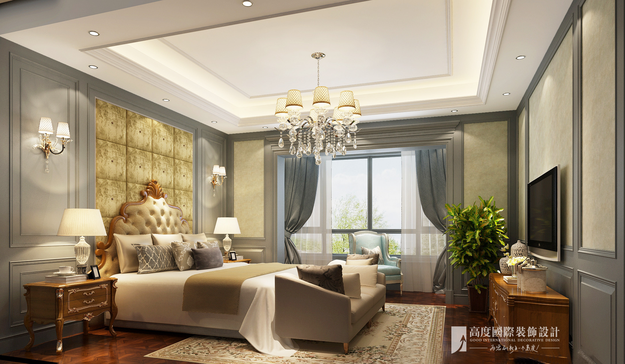 欧式 别墅 大户型 跃层 复式 小资 80后 卧室图片来自高度国际姚吉智在西山艺境280平米简欧叠拼别墅的分享
