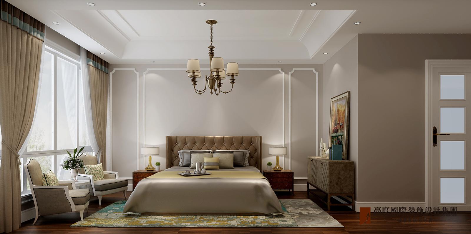 卧室图片来自北京高度国际在V7九间堂220平米简美风格的分享