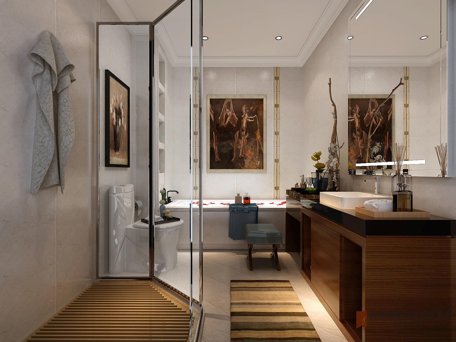 卫生间图片来自北京高度国际在V7九间堂220平米简美风格的分享