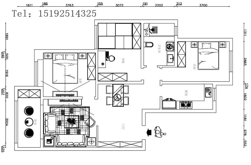 三居 新中式 金隅和府 户型图图片来自快乐彩在金隅和府120平新中式三居室的分享