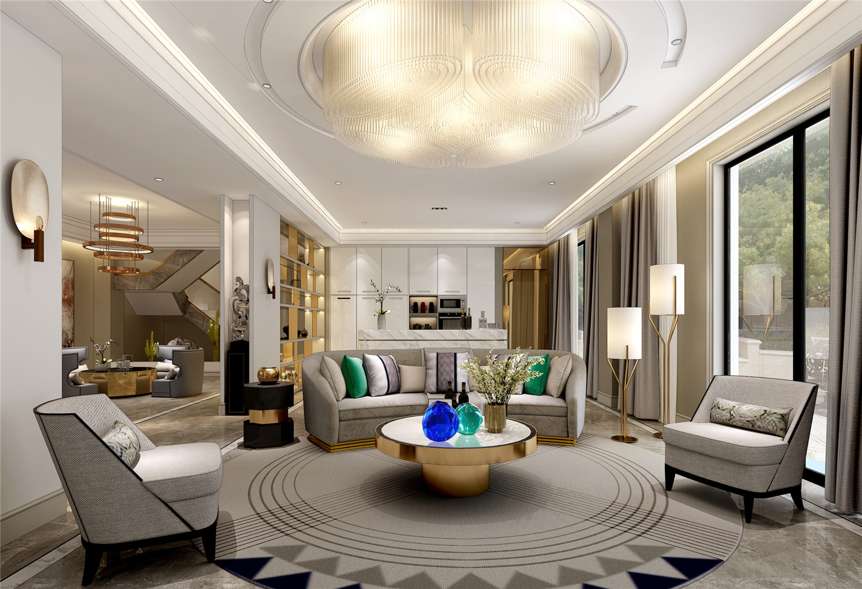 安亭高尔夫 别墅装修 现代风格 新古典 混搭风格 腾龙设计 客厅图片来自孔继民在安亭高尔夫别墅装修现代风格设计的分享