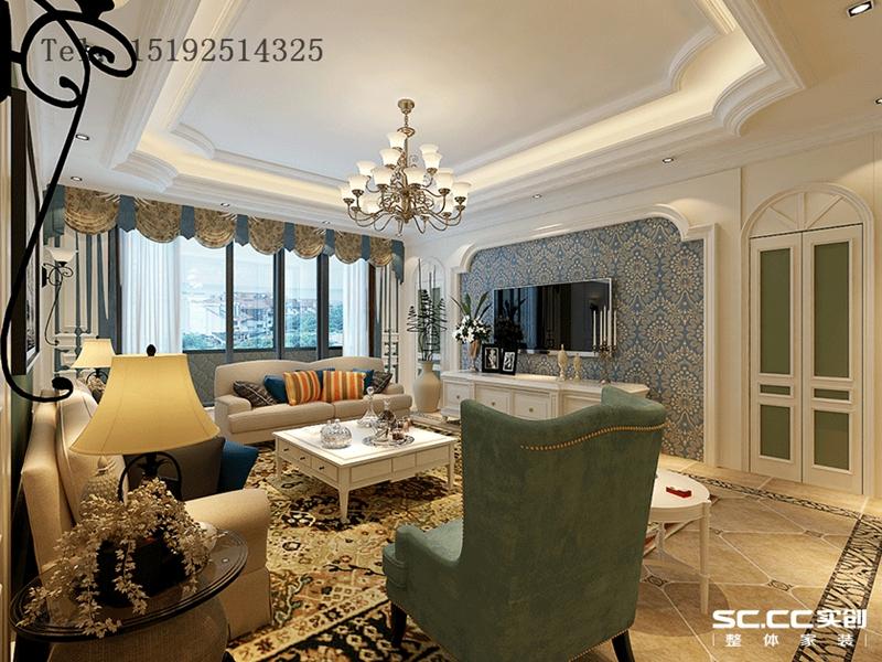 美式 青岛 实创 别墅 客厅图片来自快乐彩在和达玺悦275平联排美式的分享