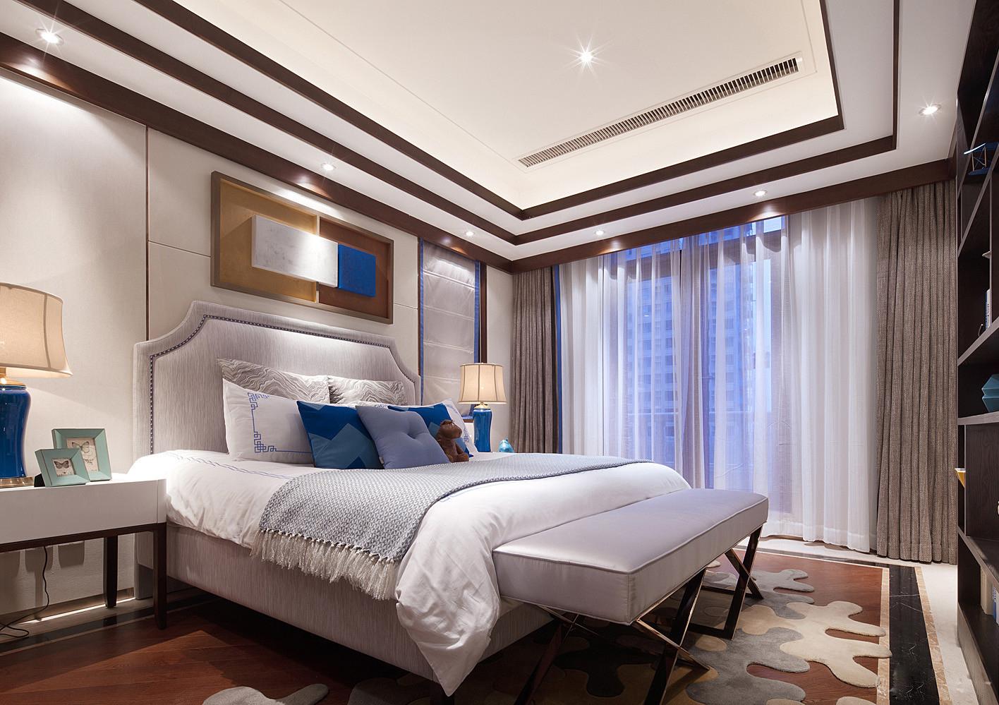 中式 别墅 跃层 复式 大户型 卧室图片来自高度国际姚吉智在500平米新中式品味优雅本色的分享