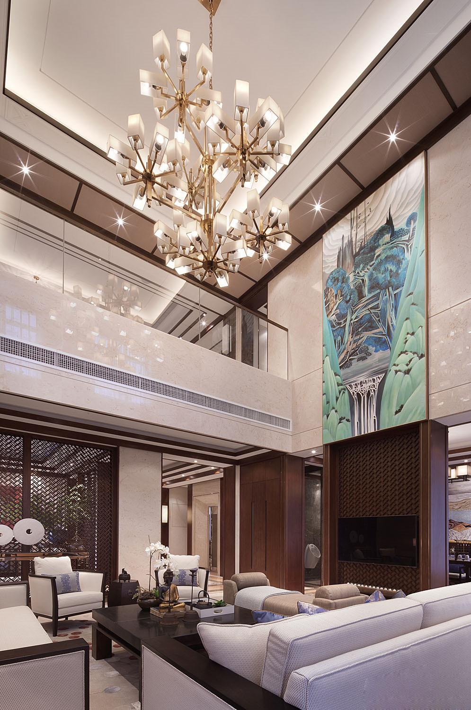 中式 别墅 跃层 复式 大户型 客厅图片来自高度国际姚吉智在500平米新中式品味优雅本色的分享