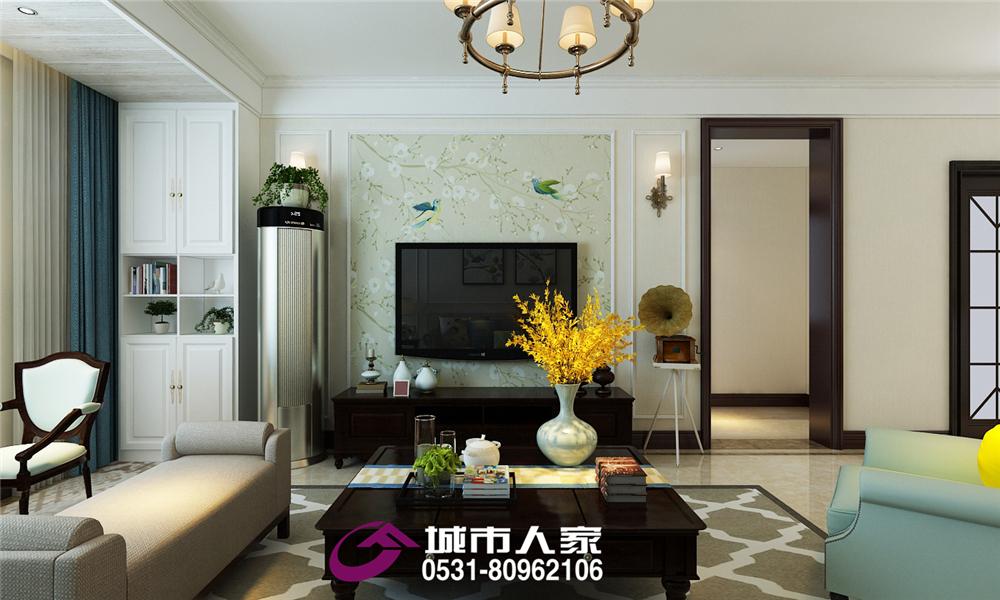 简约 锦绣兰庭 客厅图片来自济南城市人家装修公司-在中建锦绣兰庭装修案例现代美式风的分享