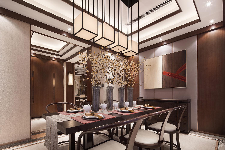 中式 别墅 跃层 复式 大户型 餐厅图片来自高度国际姚吉智在500平米新中式品味优雅本色的分享