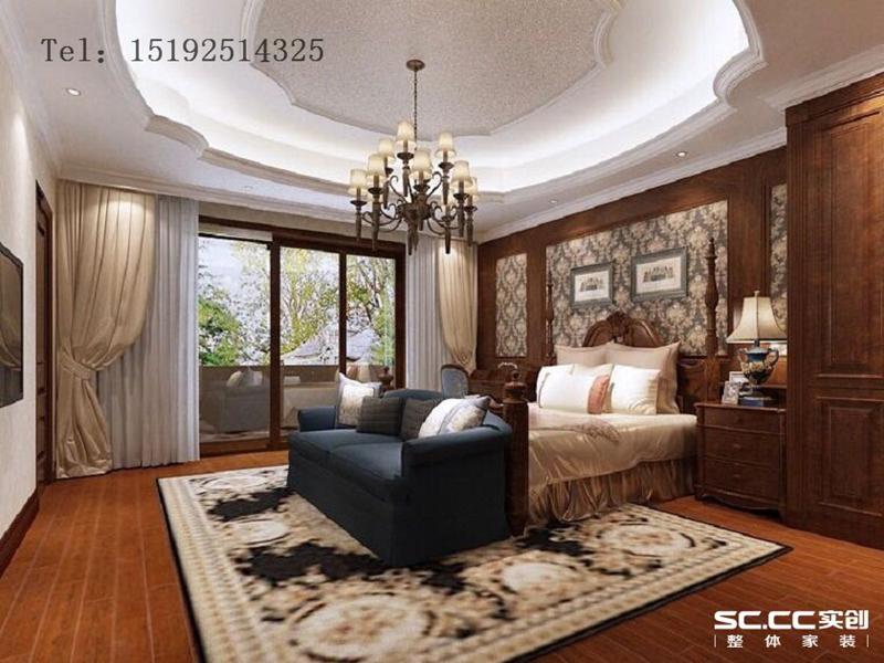 别墅 美式 实创 明德小镇 青岛 装修 白领 卧室图片来自快乐彩在明德小镇192平美式联排别墅装修的分享