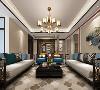 客厅,龙门架运用室外大门的设计感作为室内的背景墙,大气、稳重。