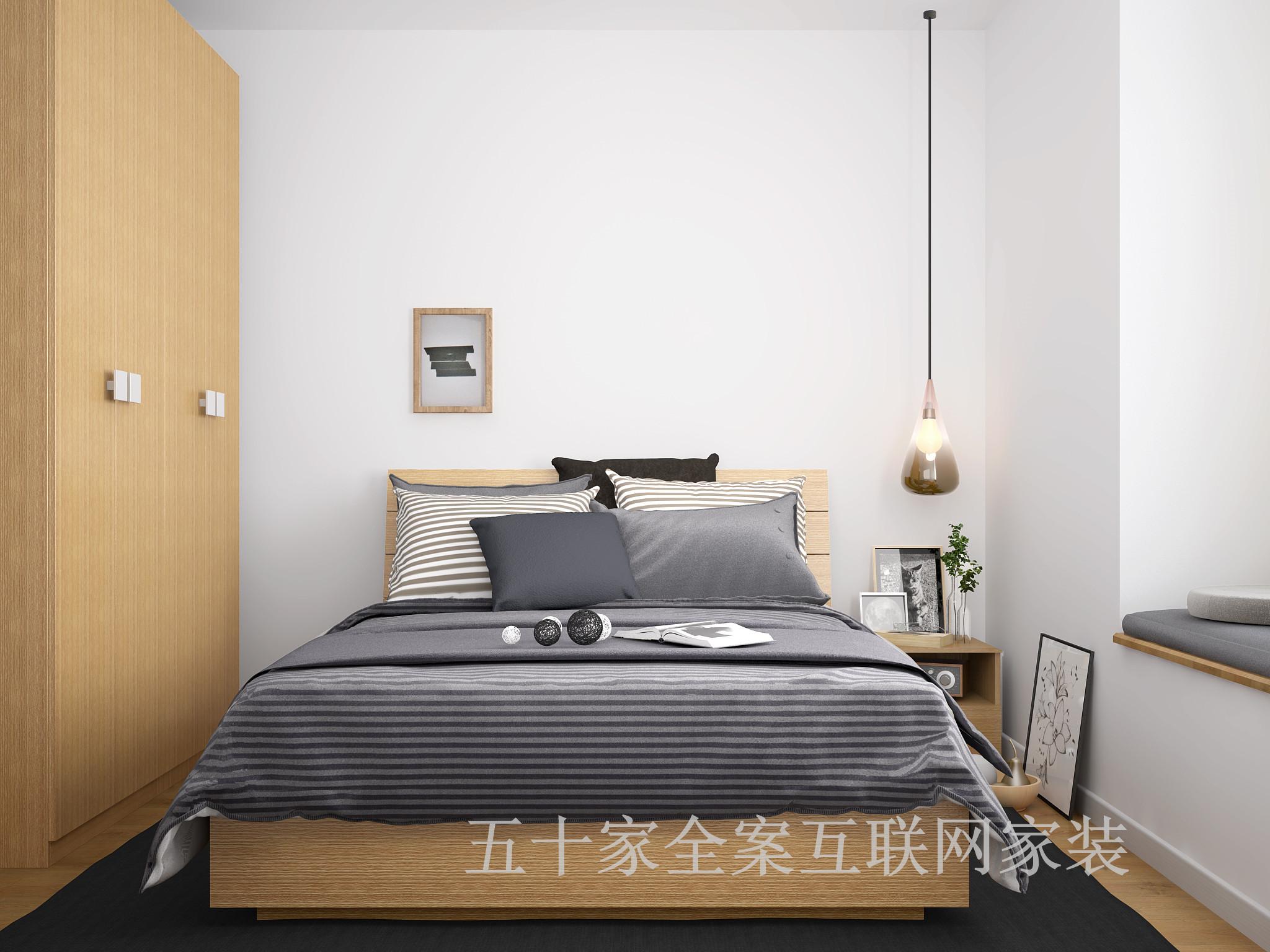 三居 别墅 白领 80后 简约 卧室图片来自五十家全案互联网家装在博洛尼五十家  简约白领三居室的分享