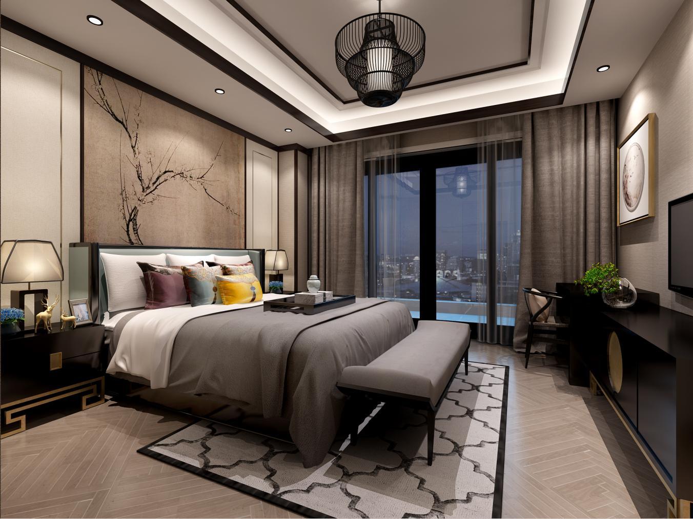 法兰西世家 别墅装修 新中式风格 腾龙设计 卧室图片来自孔继民在法兰西世家别墅装修新中式设计的分享