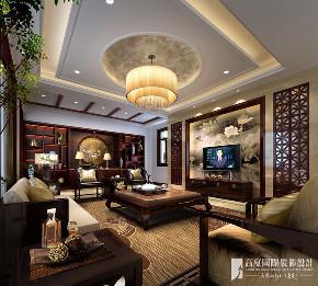 中式 别墅 跃层 复式 大户型 80后 小资 客厅图片来自高度国际姚吉智在领秀翡翠山280㎡新中式徽风皖韵的分享