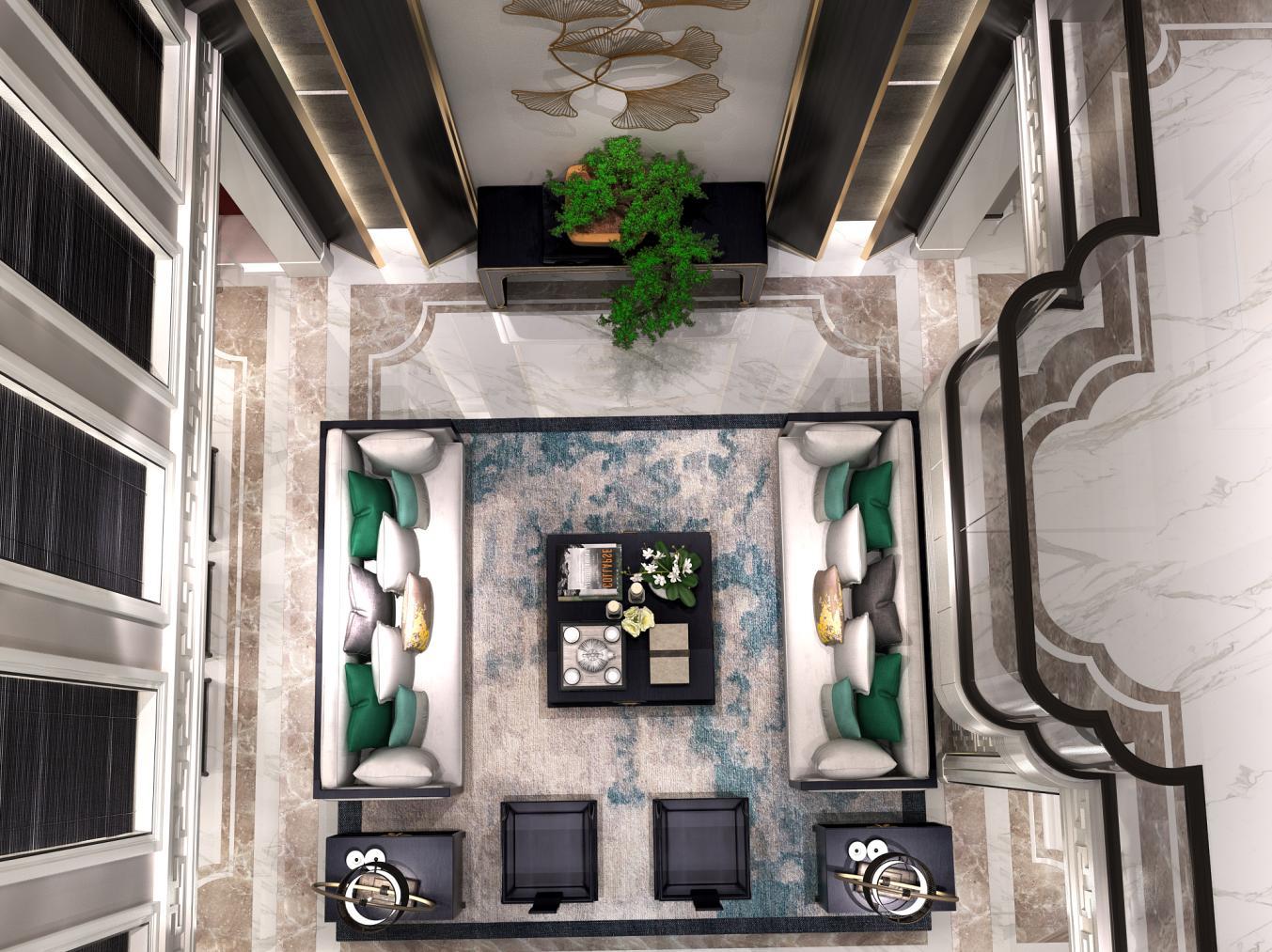 法兰西世家 别墅装修 新中式风格 腾龙设计 客厅图片来自孔继民在法兰西世家别墅装修新中式设计的分享