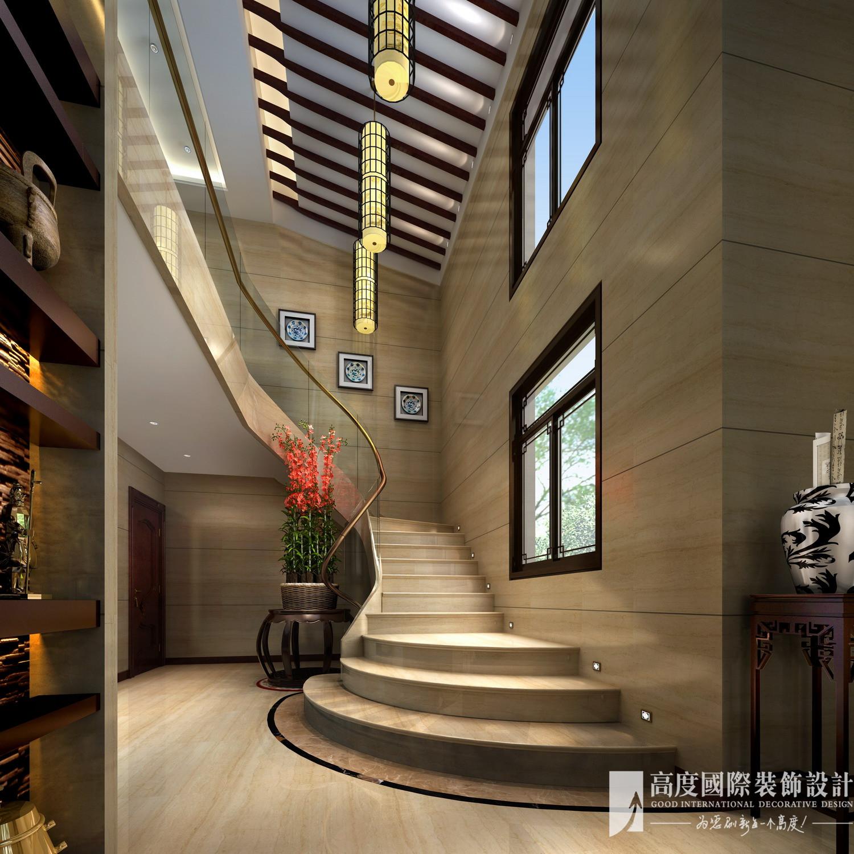 中式 别墅 跃层 复式 大户型 80后 小资 楼梯图片来自高度国际姚吉智在领秀翡翠山280㎡新中式徽风皖韵的分享