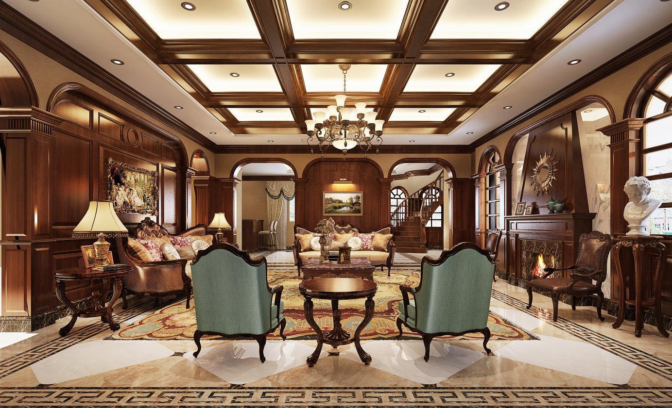 枫丹白露 别墅装修 美式古典 腾龙设计 客厅图片来自孔继民在枫丹白露别墅装修美式风格设计的分享