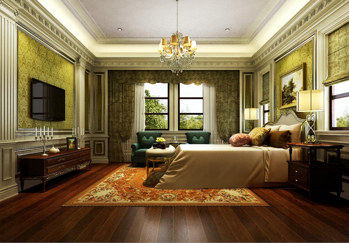 大豪山林 别墅装修 美式古典 腾龙设计 卧室图片来自腾龙设计在大豪山林760平别墅美式古典风格的分享