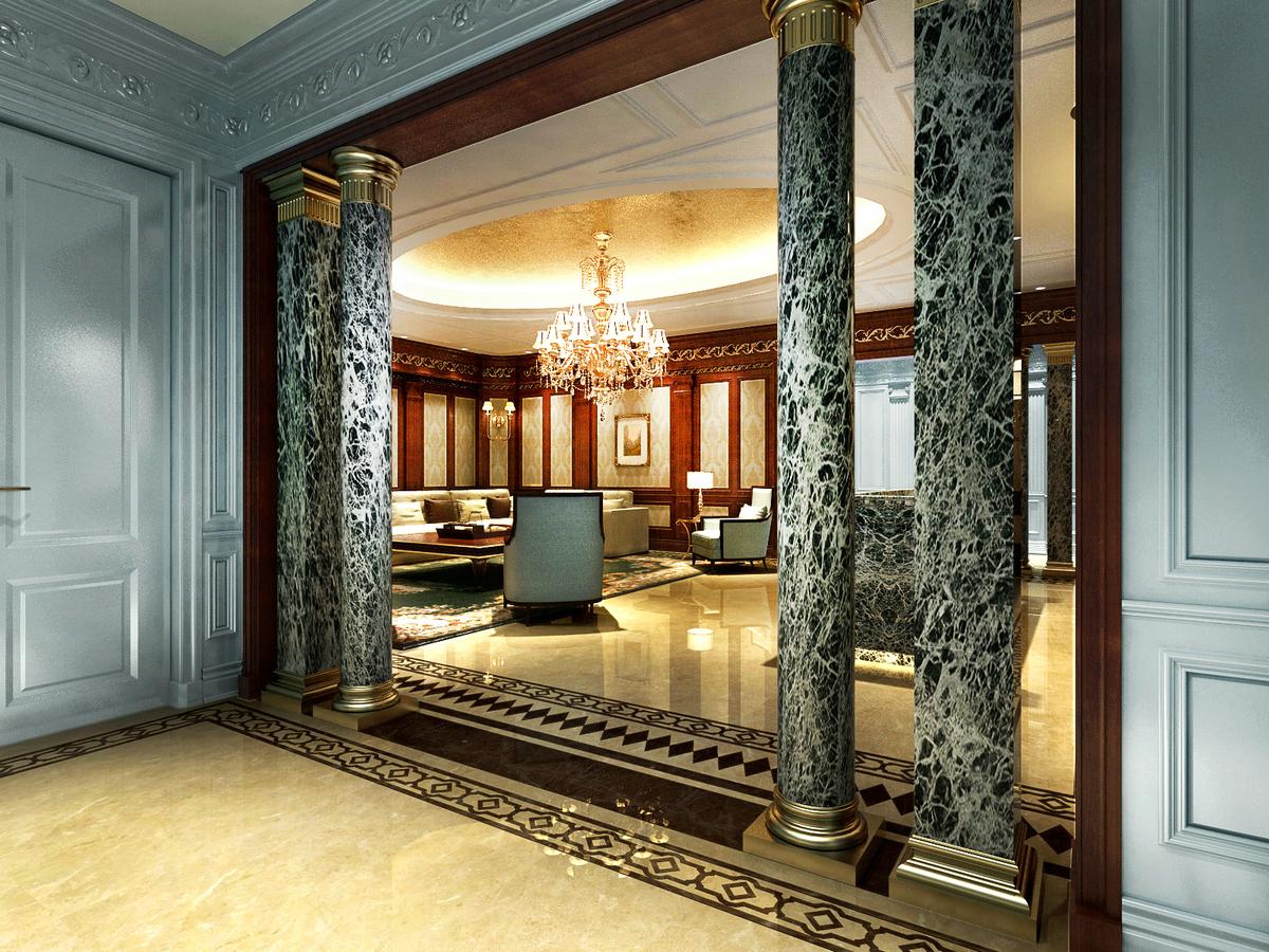 大豪山林 别墅装修 玄关图片来自腾龙设计在大豪山林760平别墅美式古典风格的分享